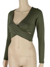 Cross Design Solid v Neck Cropped t Shirt