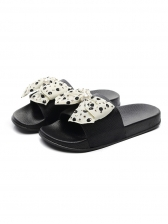 Dots Print Bow Decor Ladies Slippers Casual