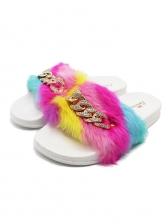 Rhinestone Chain Decor Colorful Striped Fur Slippers