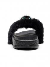 Rhinestone Owl Decor Fur Slippers For Women