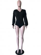 Solid Color Long Sleeve V Neck Bodysuit