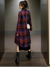 Chic Lapel Long Sleeve Plaid Long Coat