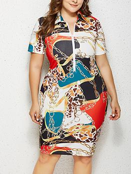 Color Block Printed Short Sleeve Summer Dresses