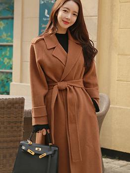 OL Style Solid Lapel Tie-Wrap Long Coat