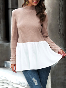 Patchwork Ruffled Knit Long T Shirt