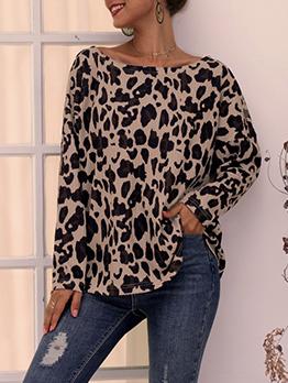 Incline Shoulder Leopard Print Blouse