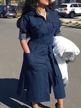Euro Denim Shirt Solid Long Sleeve Midi Dress