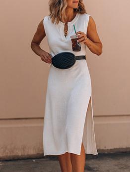 Notch Collar Side Split White Sleeveless Dress