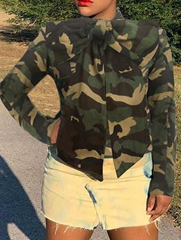 Camouflage Denim Long Sleeve Bow Blouse