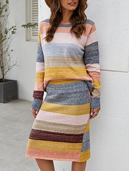 Contrast Color Wide Stripes Split Hem 2 Piece Skirt Set