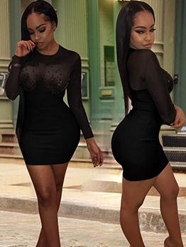 Gauze Patchwork Rhinestone Black Long Sleeve Dress