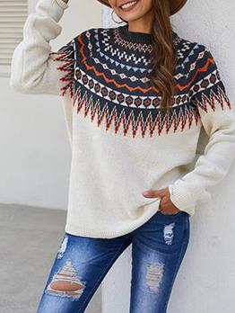 Autumn Geometric Pattern Women Pullover Sweater