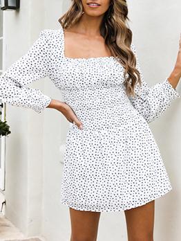 Square Neck Dots Autumn Long Sleeve Short Dress