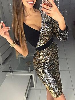 Contrast Color Patchwork One Shoulder Long Sleeve Sequin Dress
