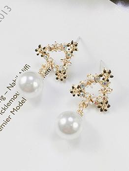 Rhinestone Pear Decor Stud Earrings