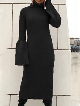 Solid Flare Sleeve High Neck Long Sleeve Maxi Dress