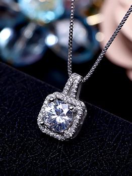 Simple Design Studded Rhinestone Necklace