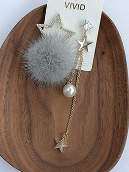 Irregular Length Fur Ball Star Pearl Earrings