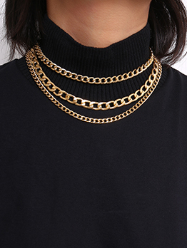 Simple Design Chain Layered Necklace