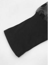 Stylish Gauze Patchwork Polka Dots Black Dress