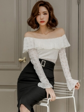 Off Shoulder Lace Blouse With Pencil Skirt