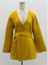 Solid V Neck Tie-Wrap Ladies Coat