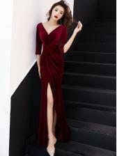 V Neck Solid Velvet Split Hem Long Formal Dresses