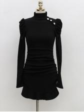 Mock Neck Ruffles Hem Long Sleeve Short Dress