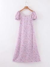 Romantic Floral Short Sleeve Midi Dress