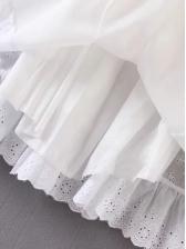 Retro Tied Lace Hem a Line Dress