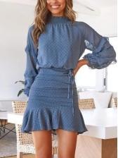 Mock Neck Ruffles Hem Chiffon Two Piece Skirt Set