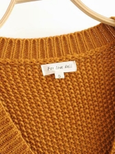 Solid Hollow Loose V Neck Sweater
