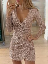 V Neck Irregular Hem Long Sleeve Sequin Dress
