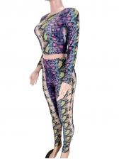 Snake Printed Long Sleeve Crop Top And Pants Set