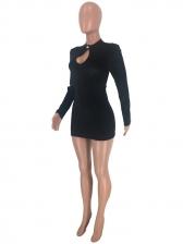 O Neck Hollow Out Long Sleeve Mini Dress
