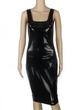 U Neck All Black Pu Sleeveless Bodycon Dress