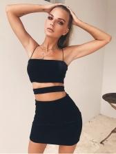Spaghetti Strap Hollow Out Black Bodycon Dress