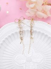Bow Zircon Studded Tassel Earrings
