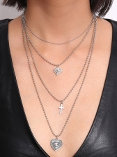 Cross Heart Pattern Layered Necklace