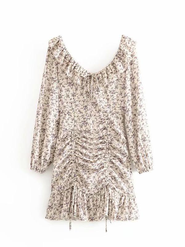 Floral Drawstring Long Sleeve Ruffled Dress