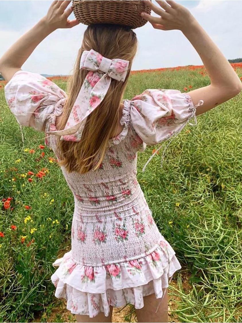 Ruffled Floral Short Sleeve Mini Dress