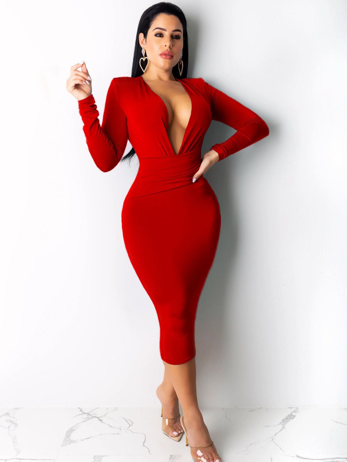 Pure Color Deep V Neck Long Sleeve Bodycon Dress