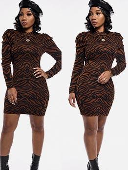 Animal Printed Long Sleeve Bodycon Dress