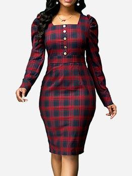 Christmas Tartan Long Sleeve Midi Dress