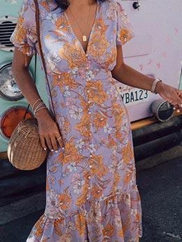 Printed Single Breasted Short Sleeve Ruffled Dress