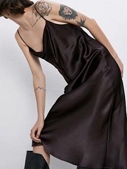 Solid Backless Sleeveless Midi Dress