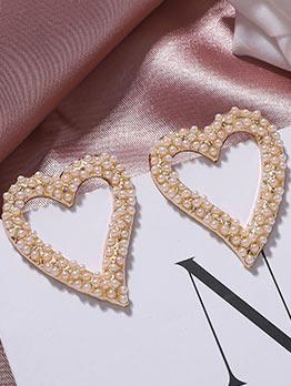 Chic Rhinestone Decor Heart Earrings