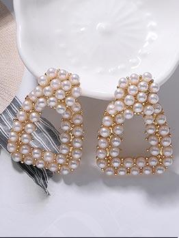 Elegant Geometric Pearl Earrings For Women