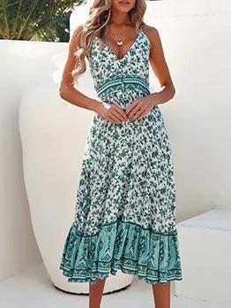 Floral Backless Sleeveless Midi Dress