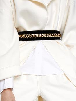 Fashion Golden Chain Decor Suede Belt
